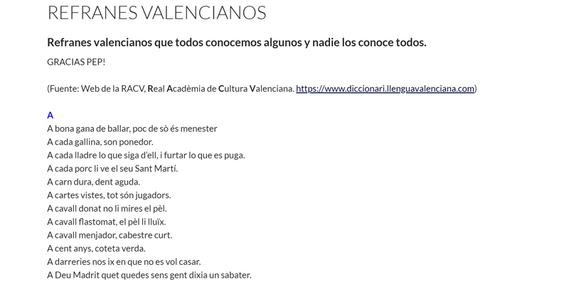 REFRANES VALENCIANOS